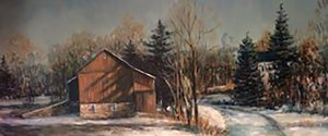 Winter Cabin Painting by Bucks County Artist