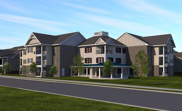 Front view rendering of Sellersville Senior Apartments